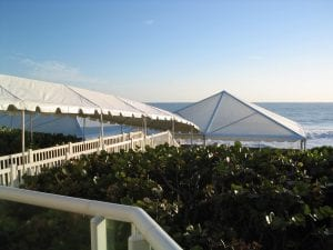 9'' wide marquee tent covering customer's walkway to a tent.