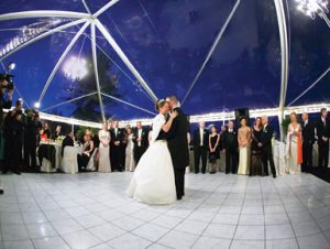 Tent with high clear top and dance floor