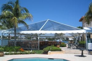 40'' x 60'' clear top tent on custom flooring with safety railing.