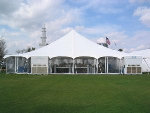 20 ton vertical a/c units in 60'' x 60'' pole tent with clear sides.