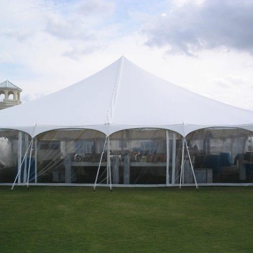 8'' high clear sidewalls in a 60'' x 60'' pole tent.