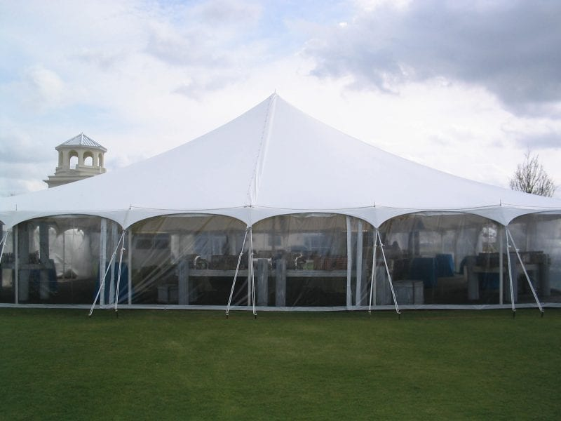 8'' high clear sidewalls in a 60'' x 60'' pole tent.