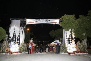 Corporate holiday winter wonderland themed event featuring custom trusses and scaffolding, Christmas trees, snowmen, deer, and Nutcracker characters.