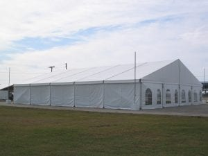 3.4m (11'') high white and window sidewalls in a 20m x 25m structure tent.