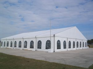 20m x 25m structure tent with window sidewalls.