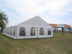 30'' x 60'' frame tent with gable ends and window sidewalls.