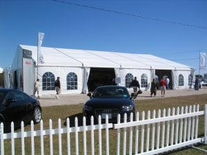 20m x 25m structure tent with window sidewalls for a corporate sponser at the annual 12 Hours of Sebring race.