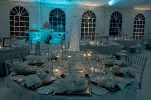 Winter wonderland themed event held in a 50'' x 90'' frame tent with blue and white lighting effects, tent liner, white carpet, and ice sculptures.