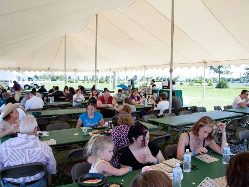 Bingo at a corporate event for 1,600 under a 40' x 80' pole tent.