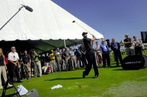 Promotional golf event for a corporate customer featuring a 50' x 60' gable ended frame tent and Tiger Woods.
