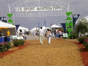 Entrance to the 2010 annual U.S. Sports Aviation Expo showing a variety of structure and frame tents.