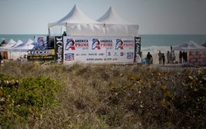 Twin 15'' x 15'' hi-peak tents on a custom built 10'' high stage for local surfing tournament.