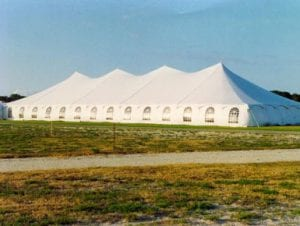 60' x 150' pole tent with window sidewalls.
