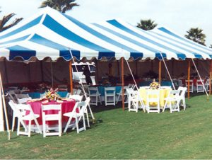 30' x 60' blue and white striped pole tent