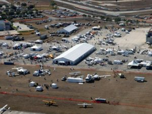 Sports Aviation Expo 2012 featuring a 20m x 65m structure tent, a 50' x 105' frame tent, and various smaller tents.