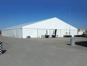 25m x 30m structure tent with with sidewalls.