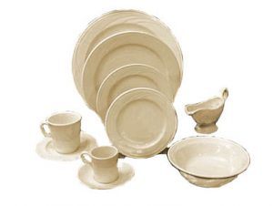 Creamy White Embossed Edge China by Syracuse