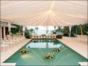 Tent Decorations and flexible staging poolside