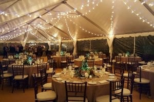 Market lighting in a 30' x 80' frame tent.