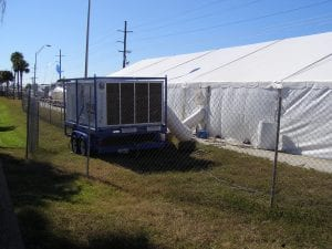 25 ton package a/c unit with duct work to 40' x 100' frame tent.