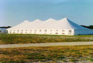 60' x 150' pole tent with window sidewalls.