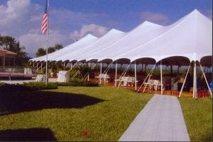 60 x 150' pole tent with custom built wood floor.