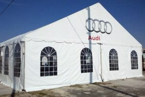40' x 60' gable ended frame tent set at 10' high with window sidewalls.