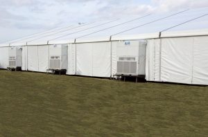 20 ton vertical a/c units in a 20m structure tent.