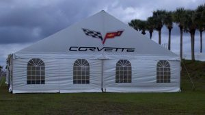 40' x 80' gable ended frame tent with window sidewalls and customer logo.