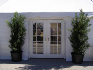 French doors set in white sidewalls