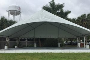 50' x 45' gable ended frame tent with an open end used as a stage cover.