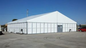 20m x 15m structure tent with PVC hard walls.