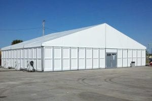 PVC hard walls in a 20m x 15m structure tent.