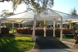 9' x 10' clear marquee tent used as an entrance to the main tent.