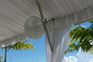 "20"" white tent fan with clamp. Needs power."