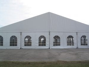 Window sidewalls in a 20m structure tent.