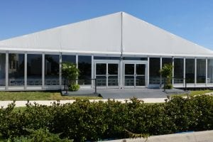 20m x 15m tent with glass walls.